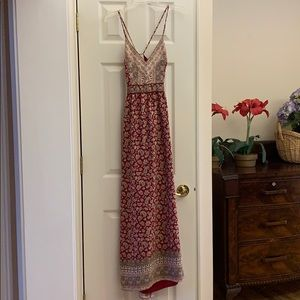 Paisley red long dress